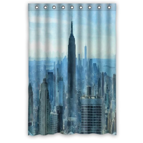 New york stad skyline zomerdag aquarel schilderij douchegordijn, doucheringen inbegrepen 100% waterdicht polyester stof 48