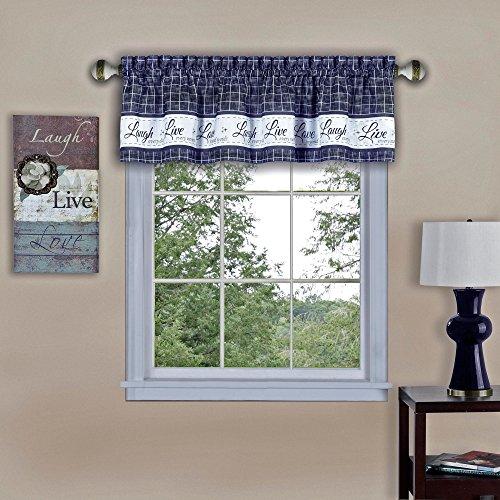 "Achim Home Furnishings Achim Home Imports Live, Love, Laugh Window Curtain Valance, 58"" x 14"", Navy"