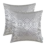 CaliTime Pack of 2 Throw Pillow Covers Cases for Couch Sofa Home Decor Vintage Shining & Dull Contrast Cross Flowers Trellis Geometric Figure 18 X 18 Inches Silver Gray