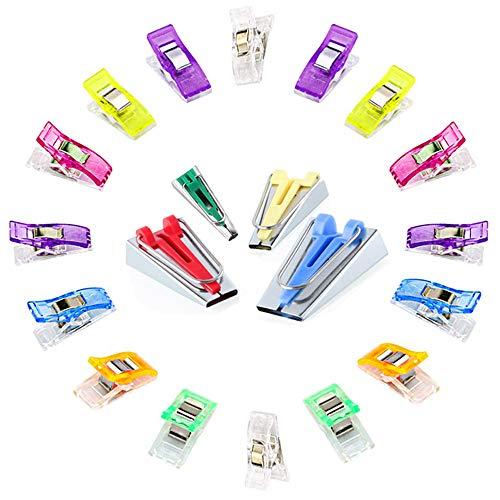 Anyasen 4 Piezas de Bias Tape Maker maquina para hacer bies Cintas al sesgo con 50 Piezas pinzas costura clips de costura Craft Clips Sewing Clips Wonder clips Craft para accesorio pinzas patchwork