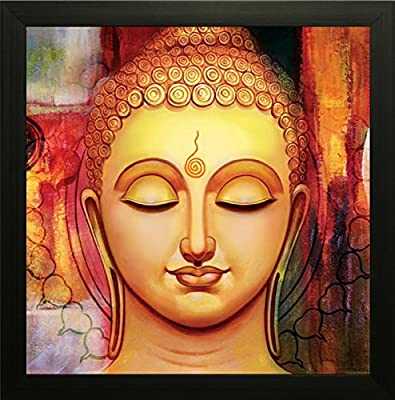 SAF Buddha Painting || Buddha painting || Buddha poster || Buddha wall stickers || SAF exclusive Framed Wall Art Paintings for Living room and Bedroom. Frame size (12 inch x 12 inch, (Wood, 30 cm x 3 cm x 30 cm, Special Effect Textured) SAANF6222T