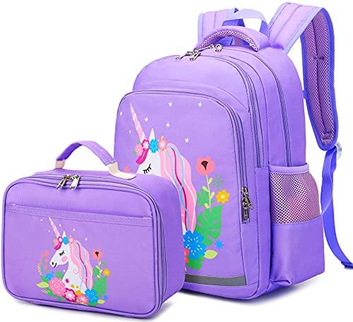 CAMTOP Girls Backpack for School Kids Backpack with Lunch Bag Preschool Kindergarten BookBag Set (Y0066-2 Purple Unicorn)