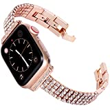Fullife Compatible with Apple Watch Bands 38mm Women Bracelet Replacement for Apple Watch Bands Series 6 Series 5 Series 4 40mm Band Compatible with Apple Watch SE Band, Rose Gold