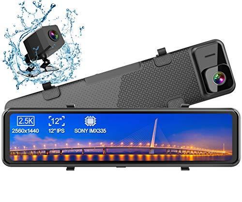 Dash Cam, WiMiUS Doppia Telecamera per Auto da 12 pollici Touchscreen Full HD 2.5K Telecamera per Auto anteriore e posteriore, Telecamera per Retromarcia per Parcheggio, Grandangolo, Visione Notturna