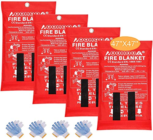 """AOOHOOA Fire Blanket Fiberglass Emergency Fire Safety Blankets Upgraded Size 47""""x 47"""" Flame Retardant Protection for Kitchen,Camping,Fireplace,Grill,Car,RV,Boat (4 Pack)"""