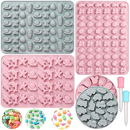 Candy Molds Gummy Molds Set of 5,Food Grade Silicone Nonstick Chocolate Molds with 2 Droppers,187 Cavities of Insect,Fruit,Marine,Car,Animal,Gelatin Molds for Kids DIY Baking Festival Party