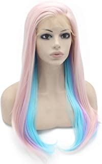 Mxangel 24inch Long Straight Light Pink Purple Blue Mix Synthetic Lace Front Wig Natural