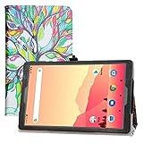 LFDZ Compatible con MatrixPad S20, funda delgada y plegable de piel sintética para tablet Vankyo MatrixPad S20 de 10 pulgadas, tablet Yuntab D107, Love Tree