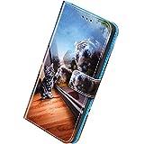Herbests Compatibile con Samsung Galaxy A20S Cover,Custodia Pelle Portafoglio Flip Case a Libro Bookstyle Cover con Chiusura Magnetica Carte Slots Custodia Colorate Wallet Case,Cat tiger