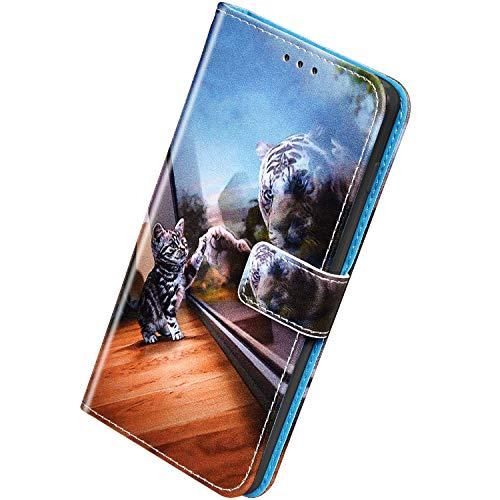 Herbests Kompatibel mit Samsung Galaxy S20 Ultra Handyhülle Hülle Flip Case Bunt Muster Leder Tasche Schutzhülle Klappbar Bookstyle Lederhülle Ledertasche mit Magnet Kartenfach,Tiger Katze