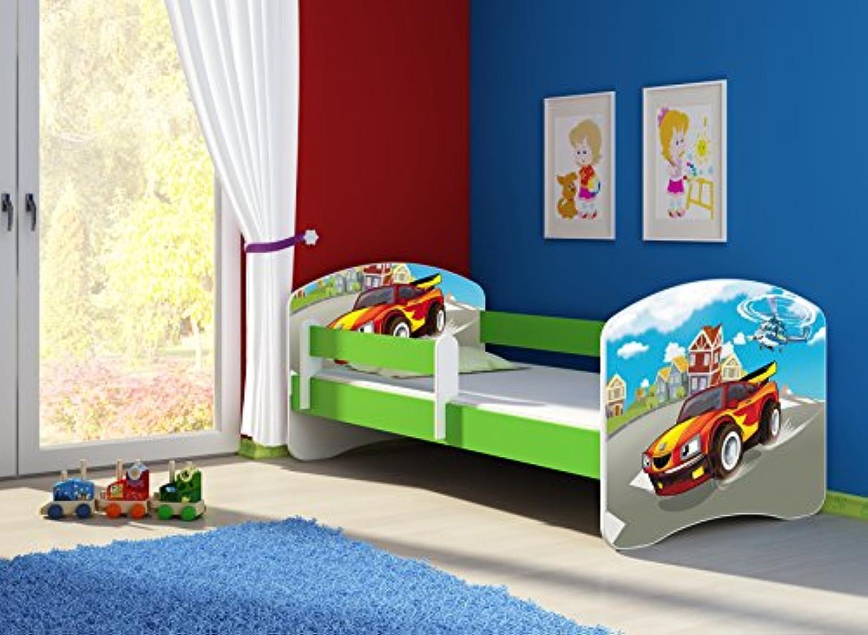 Clamaro 'Fantasia Grün' 140 x 70 Kinderbett Set inkl. Matratze und Lattenrost, mit verstellbarem Rausfallschutz und Kantenschutzleisten, Design  03 Verfolgungsjagd