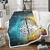 Manta de forro polar con diseño de cerebro humano sherpa, fórmula matemática, para silla, resistente a las manchas, coloridas rayas, decoración de la habitación King 221,0 x 238,8 cm