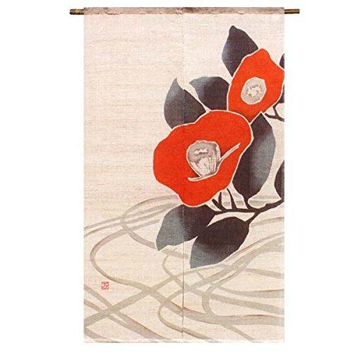 万葉舎 麻のれん のれん 暖簾 大正ロマン ろうけつ染め 紅椿 麻90% 綿10% 88×150cm