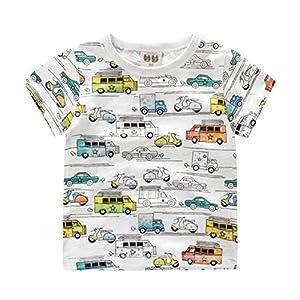 (美来Kids) 子ども服 男の子 キッズ Tシャツ 半袖 車 シャーク柄 恐竜柄 普段着 夏服 カジュアル 子供 100 110 120 (100, クルマ柄(3))