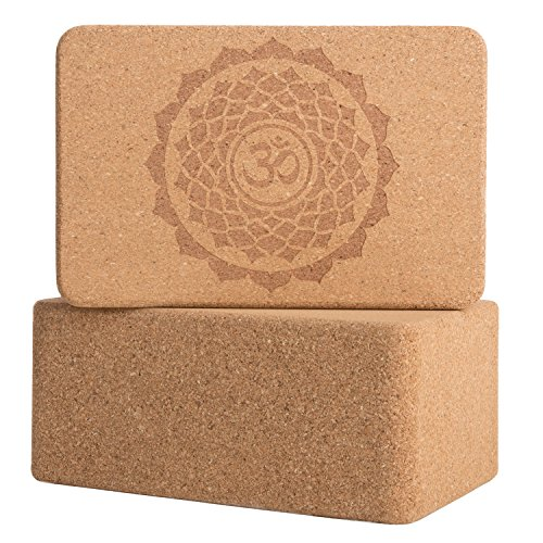 Cork WoodYoga Blocks with Premium Designs, 2 Pack