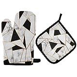 TropicalLife Alarge - Juego de manoplas para horno, diseño de mármol, líneas geométricas, resistentes al calor, guantes para horno, ollas calientes, sartenes para cocinar y asar