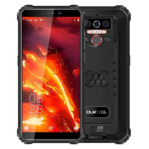 OUKITEL WP5 PRO 4G Outdoor Smartphone ohne Vertrag, 8000mAh Batterie 4 LED Blitzlicht, Android 10 Robustes Handy IP68, Helio A25 4GB + 64GB, 13MP + 2MP + 2MP, Gesichtserkennung, GPS DUAL SIM Schwarz
