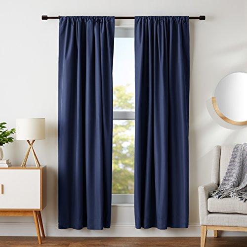 AmazonBasics Room Darkening Blackout Curtain Set of 2 with Tie Backs - 245 GSM - (7 Feet - Door) 52' x 84', Navy Blue