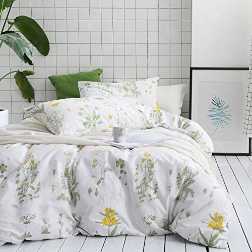 Wake In Cloud - Botanical Duvet Cover Set, 100% Cotton Bedding, Yellow Flowers and Green Leaves Floral Garden Pattern Printed on White (3pcs, Twin Size)
