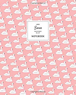 Swan Notebook - Ruled Pages - 8x10 - Large: (Peach Edition) Fun bird notebook 192 ruled/lined pages (8x10 inches / 20.3x25...