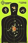 Splatterburst Targets - 12 x18 inch - Silhouette Reactive Shooting Target - Shots Burst Bright Fluorescent Yellow Upon Impact - Gun - Rifle - Pistol - Airsoft - BB Gun - Air Rifle (10 Pack)