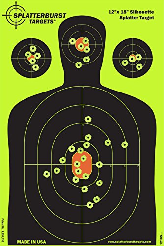 Splatterburst Targets - 12 x18 inch - Silhouette Reactive Shooting Target - Shots Burst Bright Fluorescent Yellow Upon Impact - Gun - Rifle - Pistol - Airsoft - BB Gun - Air Rifle (10 Pack)