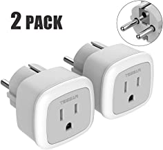 Germany France Power Adapter 2 Pack, TESSAN Type E/F Travel Adaptor American to European Electrical Outlet Plug Adapters for Europe Spain Iceland Russia