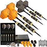 CC-Exquisite Professional Steel Tip Darts Set - 6 x 22g Brass Barrels with 12 Flights Standard/Slim, 12 Aluminum Shafts 35/48mm, 12 O-Rings, Dart Tool, Dart Sharpener and Case (Black & Gold)