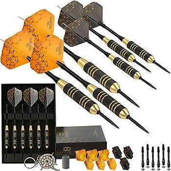 CC-Exquisite Professional Steel Tip Darts Set - 6 x 22g Brass Barrels with 12 Flights Standard/Slim 12 Aluminum Shafts 35/48mm 12 O-Rings Dart Tool Dart Sharpener and Case  Black & Gold