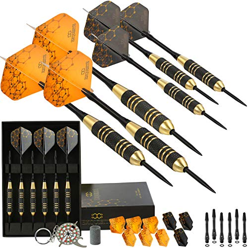 CC-Exquisite Professional Steel Tip Darts Set - 6 x 22g Brass Barrels with 12 Flights Standard/Slim, 12 Aluminum Shafts 35/48mm, 12 O-Rings, Dart Tool, Dart Sharpener and Case