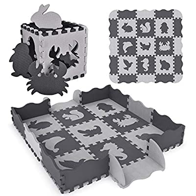 """FUN LITTLE TOYS 25PCs Baby Play Mat with Fence Including 9 Different Animal Styles, Thick (0.47"""") Interlocking Foam Floor Tiles, Kids Room Decor Large Mat"""
