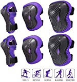 6 Pcs Set Kids Protective Gear, Knee Pads Elbow Pads Wrist Guards Protective Gear Set for Rollerblading Skateboard Cycling Skating Bike Scooter Riding Sports