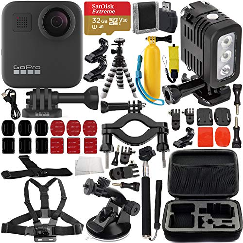 GoPro MAX 360 Action Camera with Premium Accessory Bundle – Includes: SanDisk Extreme 32GB microSDHC Memory Card, Rechargeable Underwater LED Light, Protective Carrying Case & Much More