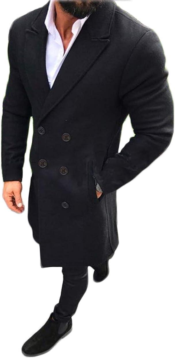 lookwoild Mens Long Double Breasted Trench Coat Gentlemen Formal Wear Jacket Overcoat Outfits Pea Coats (Black, M)