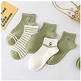 DSFHKUYB Calcetines de algodón para Mujer 5 Pares Calcetines Cortos Bonitos Finos de Verano Calcetines de Barco de Boca Baja para Mujer,B