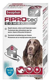 BEAPHAR - FIPROTEC COMBO au Fipronil + (S)-Méthoprène dosés à 134 mg/120,6 mg – Solution spot-on pour chiens moyens (10-20 kg) – Agit contre puces, tiques et poux broyeurs - 3 pipettes de 1,34 ml