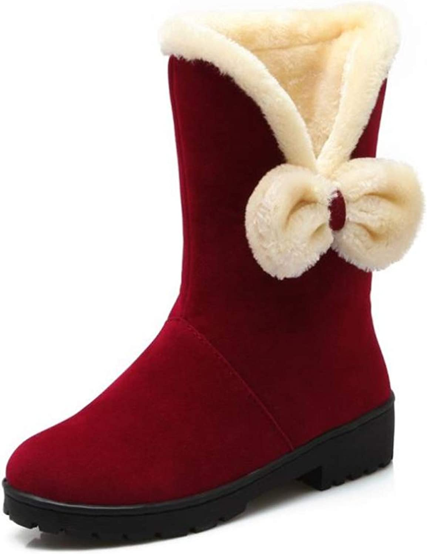 BeautyOriginal Women Cute Bow Suede Snow Boots Thick Fur Winter Boots