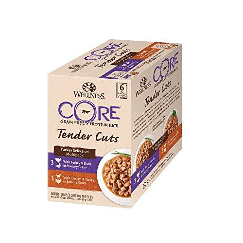 Wellness CORE Tender Cuts, Katzenfutter nass in Sauce, getreidefrei, hoher Fleischanteil, Pute Selection Mix, 6 x 85 g