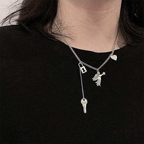 QiaoShiRen Colgante de Plata 925 Collares Retro Collar de Bloqueo de Mujer para Mujer Angel Cartel de Diseñador Moda Moda Moda Key Color de Oro Cuello de clavícula Collares Pendientes
