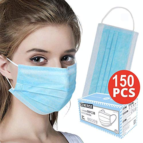 Surgical Face Masks – X150 BOXED 3Ply Non-Medical Face Masks UK Stock Blue EN149:2001 – Breathable, Disposable Face…