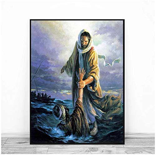 ZFLSGWZ All Souls Day Jesus Peter Walking On Water Canvas Print Picture Paintings for Living Room Poster On The Wall Home Decor-50x70cm no Frame 1 Pcs