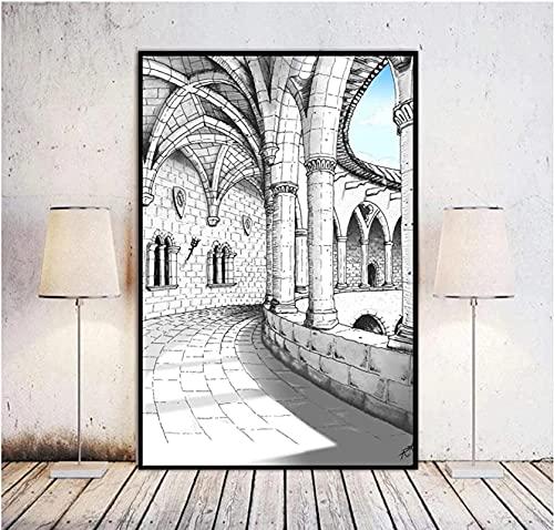 Crazystore Graffiti Abstracto 40x60 cm sin Marco Castillo Pasillo impresión de la Lona Arte de la Pared galería Moderna impresión de la Lona Sala de Estar decoración del hogar