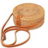 Handwoven Rattan Crossbody Bag for Women with Scarves Handmade Wicker Purse Straw Bag with Shoulder Leather Strap (Ivy Ata Grass)