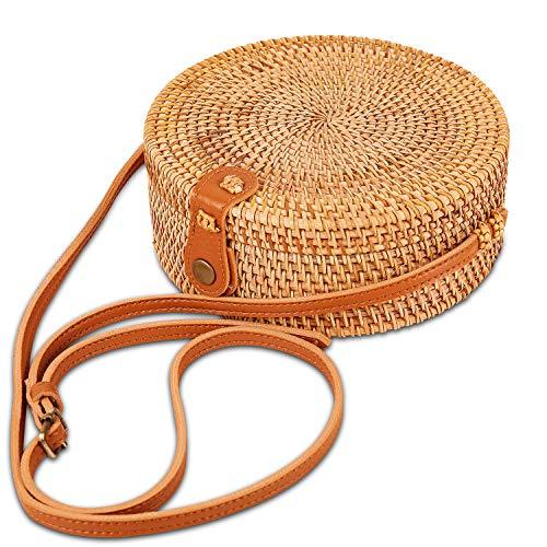Bandolera ajustable de cuero con correa de hombro tejida a mano de ratán, para mujer, con bufanda gratuita hecha a mano, bolsa de paja