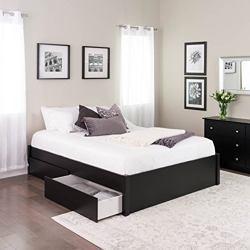 Queen Select 4-Post Platform Bed with 2 Drawers, Black