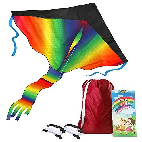 AGREATLIFE Riesiger Regenbogen-Leichtwinddrache im Set mit 50M Drachenleine + 1x Ersatz Drachen-Griff mit 50M Drachenschnur + eBook + Transport-Tasche - Flugdrachen Einleiner - Fliegt wie 'ne Eins