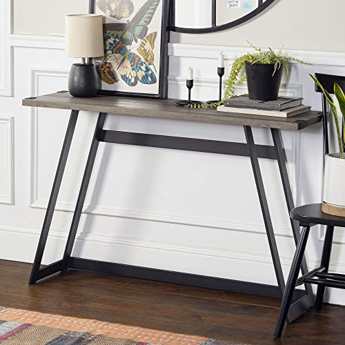 Walker Edison Furniture Industrial Farmhouse Round Accent Entryway Table, 46 Inch, Grey