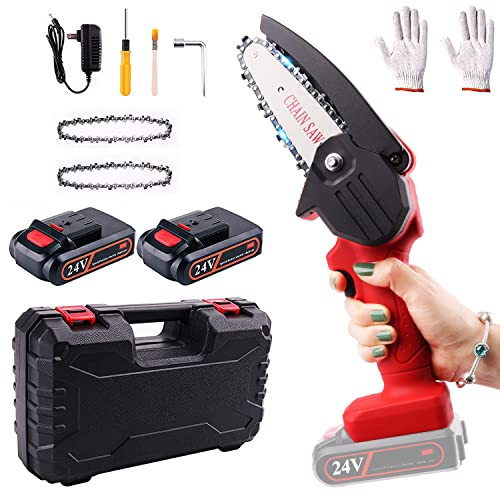 Mini Chainsaw, RLSOO Upgraded 4-Inch 24VBattery PoweredCordless Chainsaw,Portable One-Handed Rechargeable Electric Chainsaw for TreeTrimmingBranch Wood Cutting(2 Batteries, 2 Chains Included)