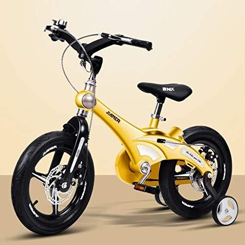 GAOTTINGSD Bicicletas para niños Conveniente Bicicleta para niños de 14/16 pulgadas Bicicleta de bebé de 2 a 3 a 6 años de edad Bicicleta de carro de bebé cómoda (color: amarillo, tamaño: 14 pulgadas)