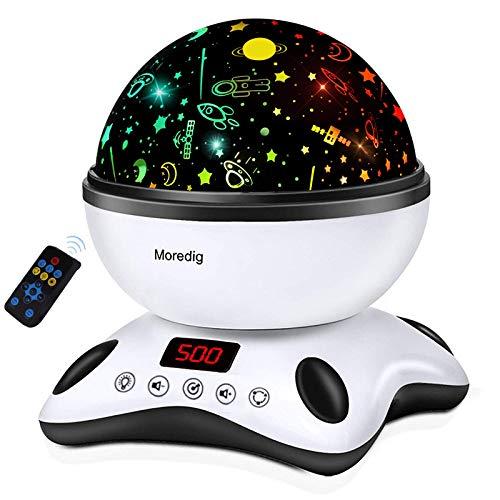 Moredig - Sternenhimmel Projektor, Musik Nachtlicht Lampe 360° Rotation + 12 Beruhigende Musik + 8 Romantische Licht, Perfektes für Kinder, Geburtstage, Halloween usw - Schwarz und Weiß